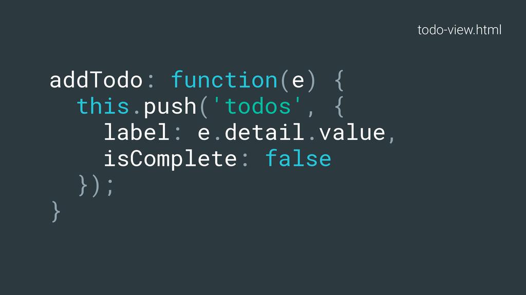 todo-view.html addTodo: function(e) { this.push...