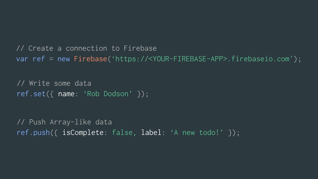 // Write some data ref.set({ name: 'Rob Dodson'...
