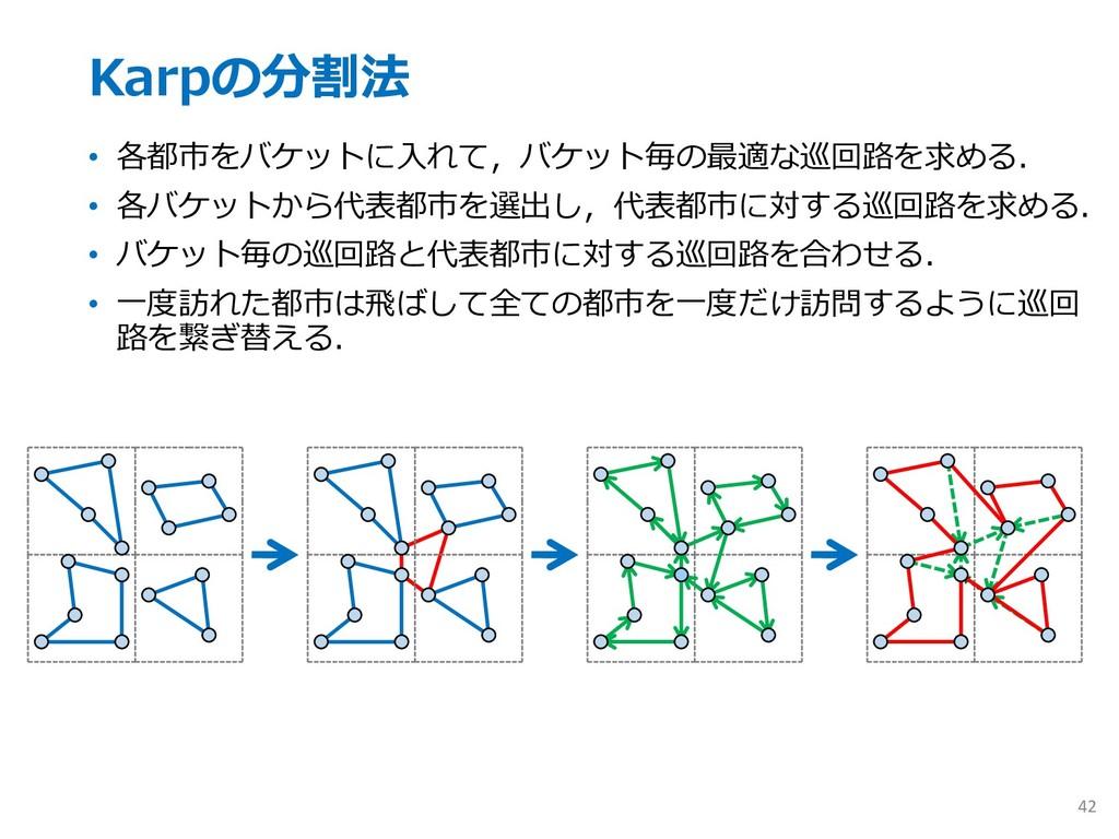 Karpの分割法 • 各都市をバケットに⼊れて,バケット毎の最適な巡回路を求める. • 各バケ...