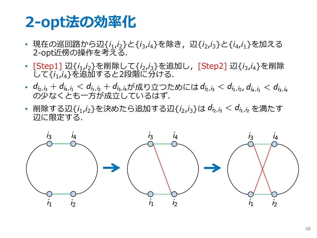 2-opt法の効率化 • 現在の巡回路から辺{i 1 ,i 2 }と{i 3 ,i 4 }を除...