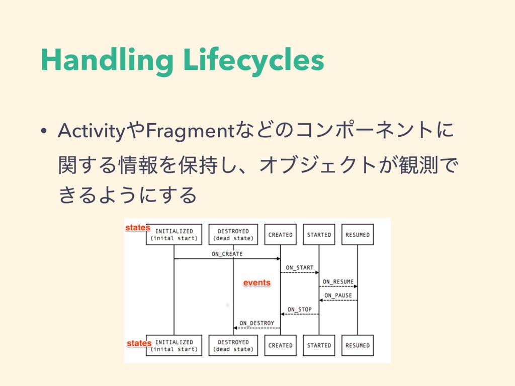 Handling Lifecycles • ActivityFragmentͳͲͷίϯϙʔω...