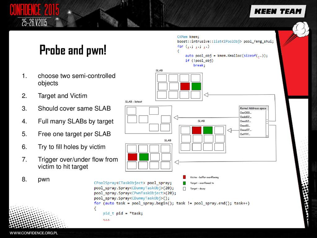 Probe and pwn! 1. choose two semi-controlled ob...