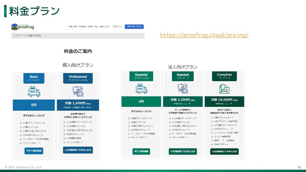 料金プラン © 2021 Taktpixel Co., Ltd. 36 https://pro...