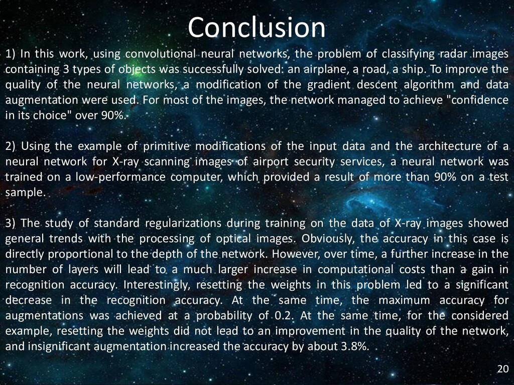 20 Conclusion 1) In this work, using convolutio...