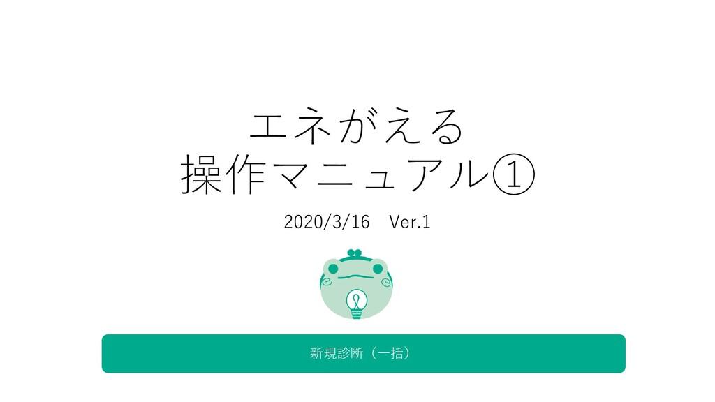 エネがえる 操作マニュアル① 2020/3/16 Ver.1 新規診断(一括)