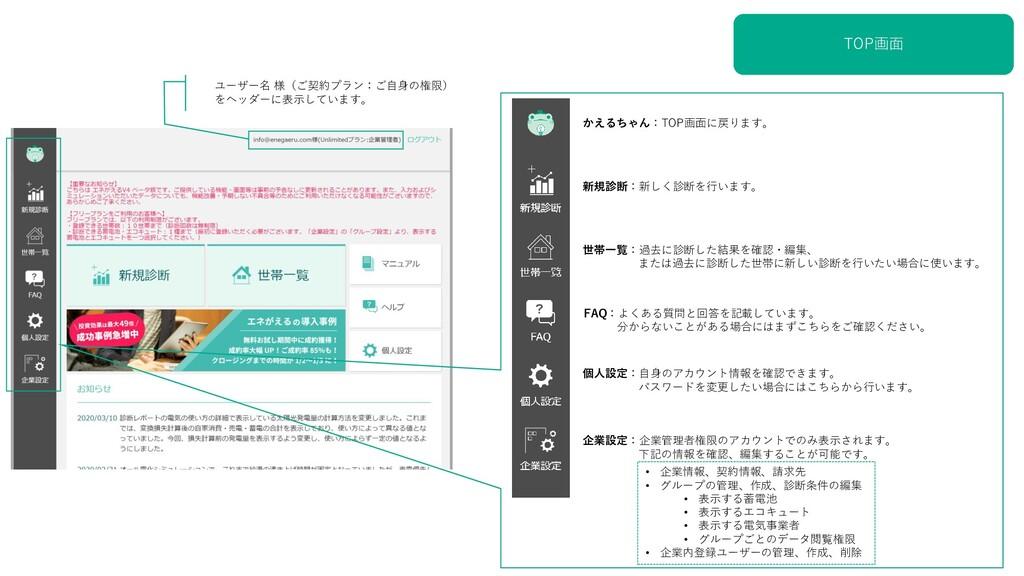 TOP画面 ユーザー名 様(ご契約プラン:ご自身の権限) をヘッダーに表示しています。 かえる...