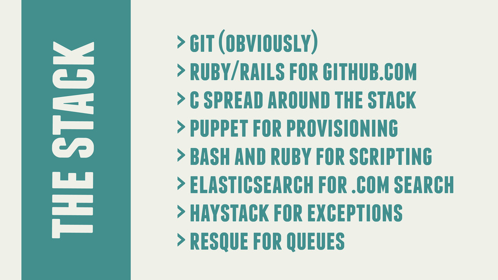 the stack > git (obviously) > ruby/rails for gi...