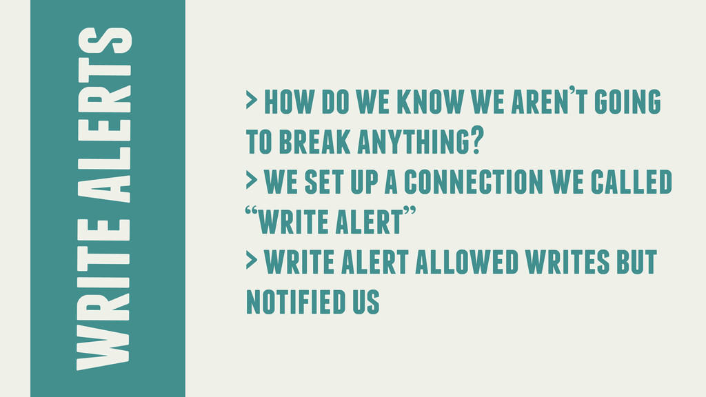 write alerts > how do we know we aren't going t...