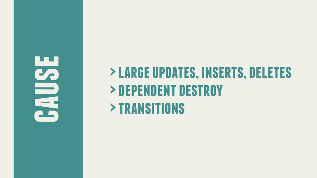 cause > large updates, inserts, deletes > depen...