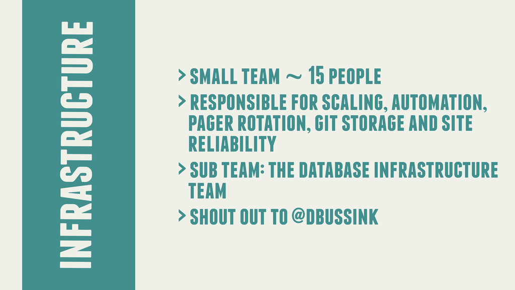 infrastructure > small team ~ 15 people > respo...