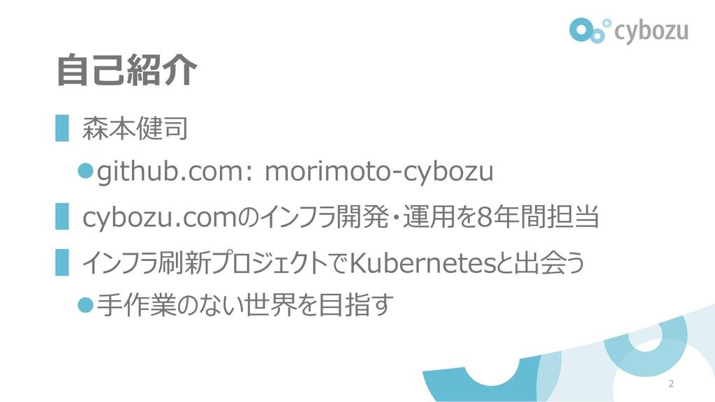 自己紹介 ▌森本健司 ⚫github.com: morimoto-cybozu ▌cybozu...