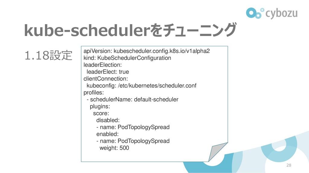 kube-schedulerをチューニング 1.18設定 28 apiVersion: kub...