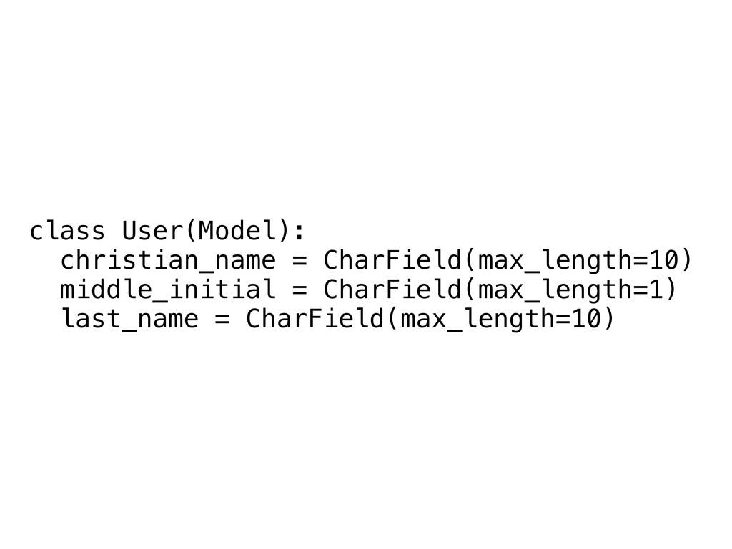 class User(Model): christian_name = CharField(m...