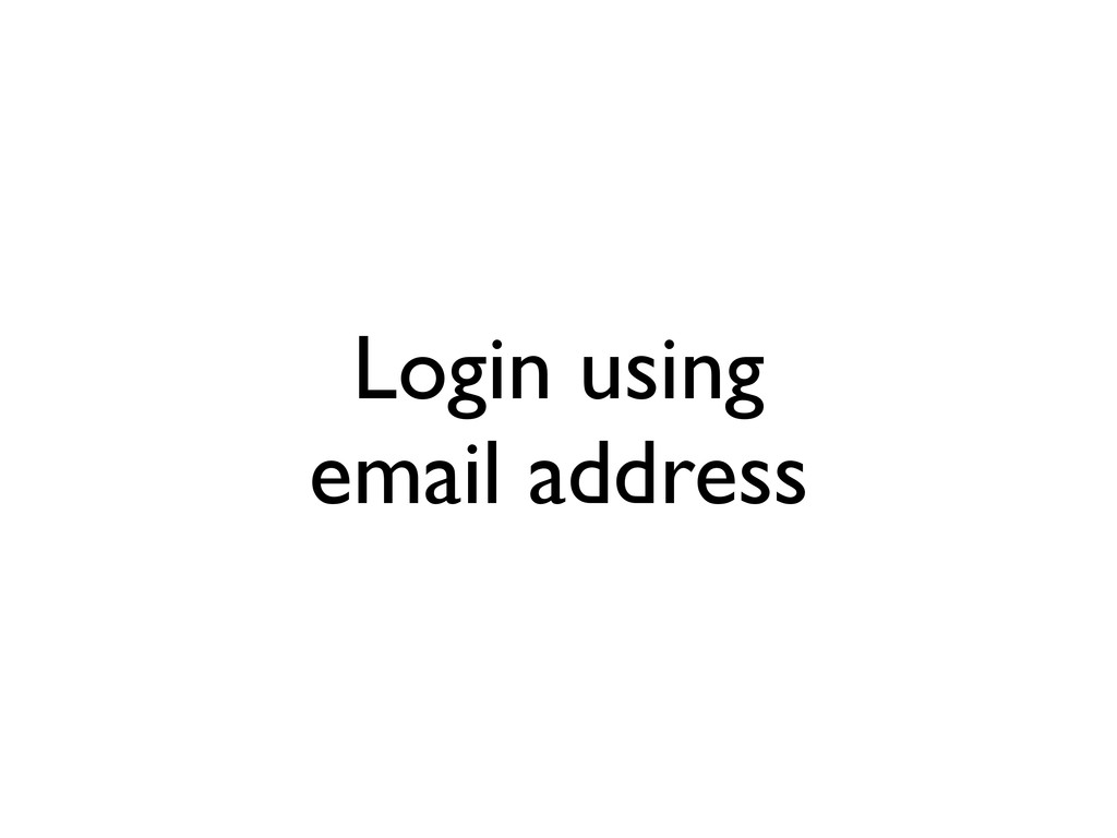 Login using email address