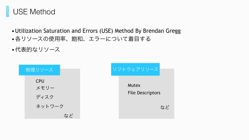USE Method •Utilization Saturation and Errors (...