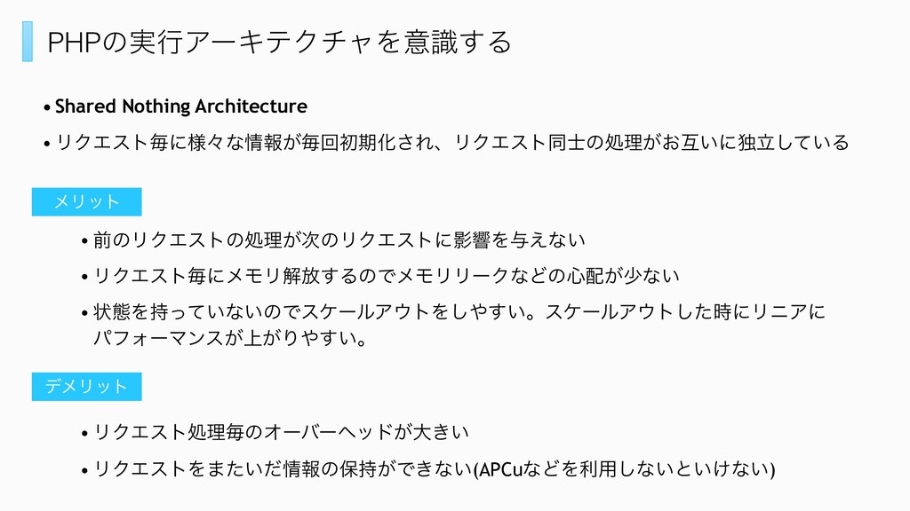 PHPͷ࣮ߦΞʔΩςΫνϟΛҙࣝ͢Δ • Shared Nothing Architectur...