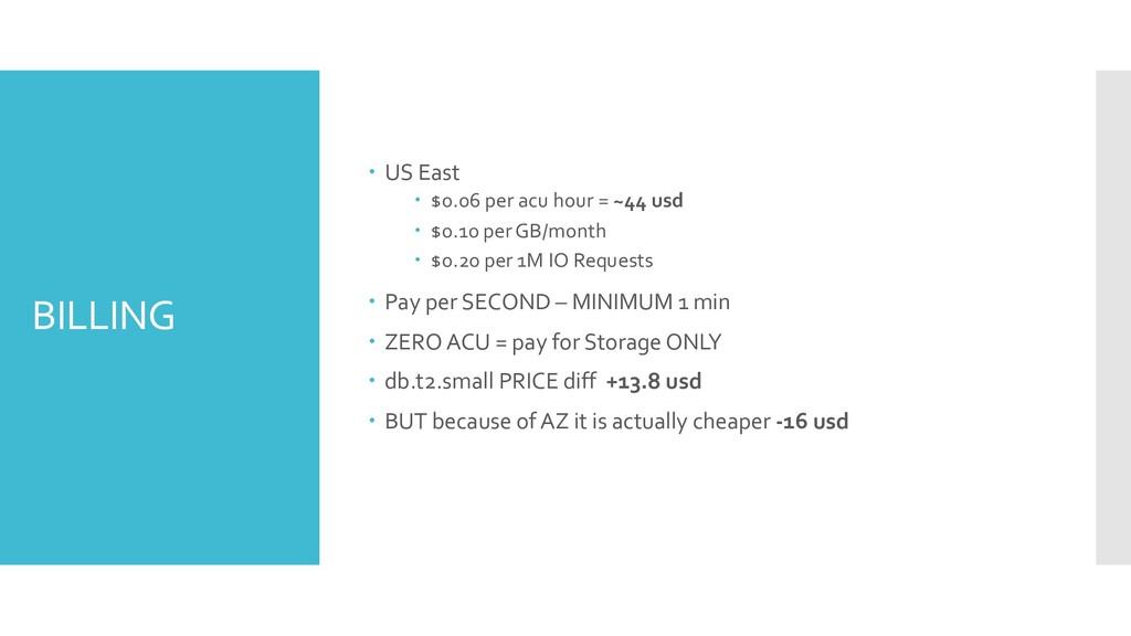 BILLING – US East – $0.06 per acu hour = ~44 us...