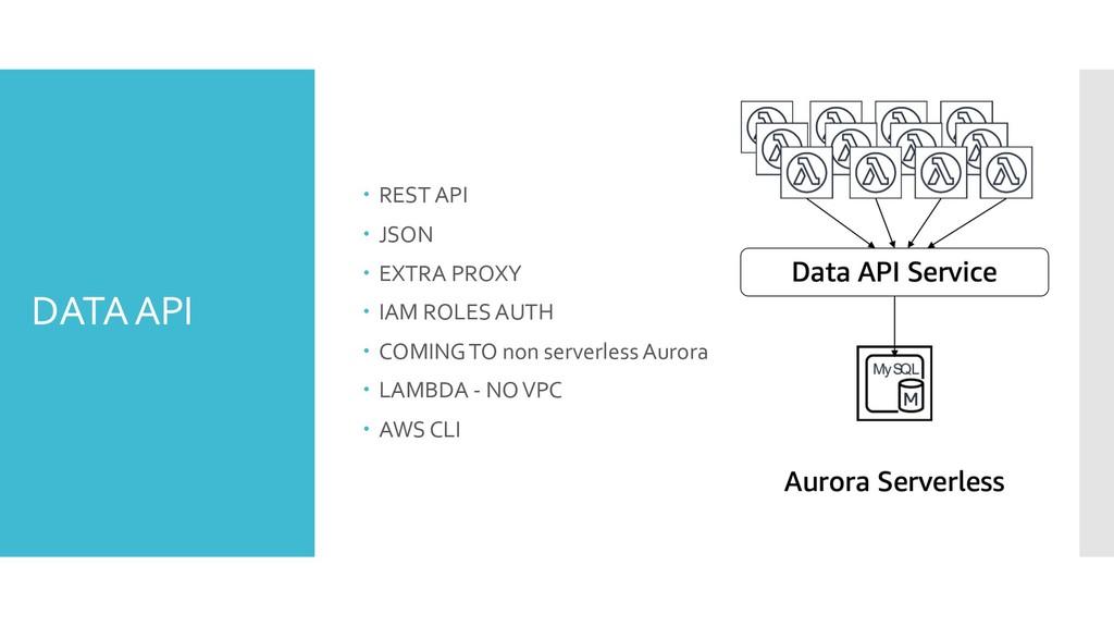 DATA API – REST API – JSON – EXTRA PROXY – IAM ...