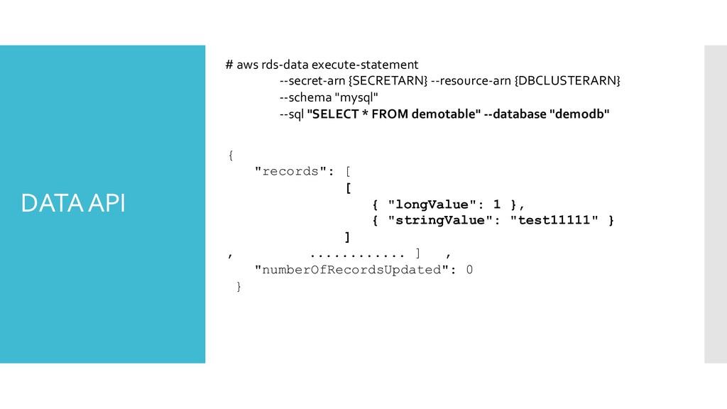 DATA API # aws rds-data execute-statement --sec...