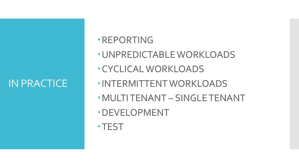 IN PRACTICE –REPORTING –UNPREDICTABLE WORKLOADS...