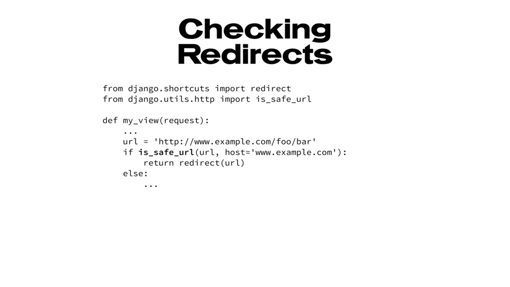 Checking Redirects from django.shortcuts import...