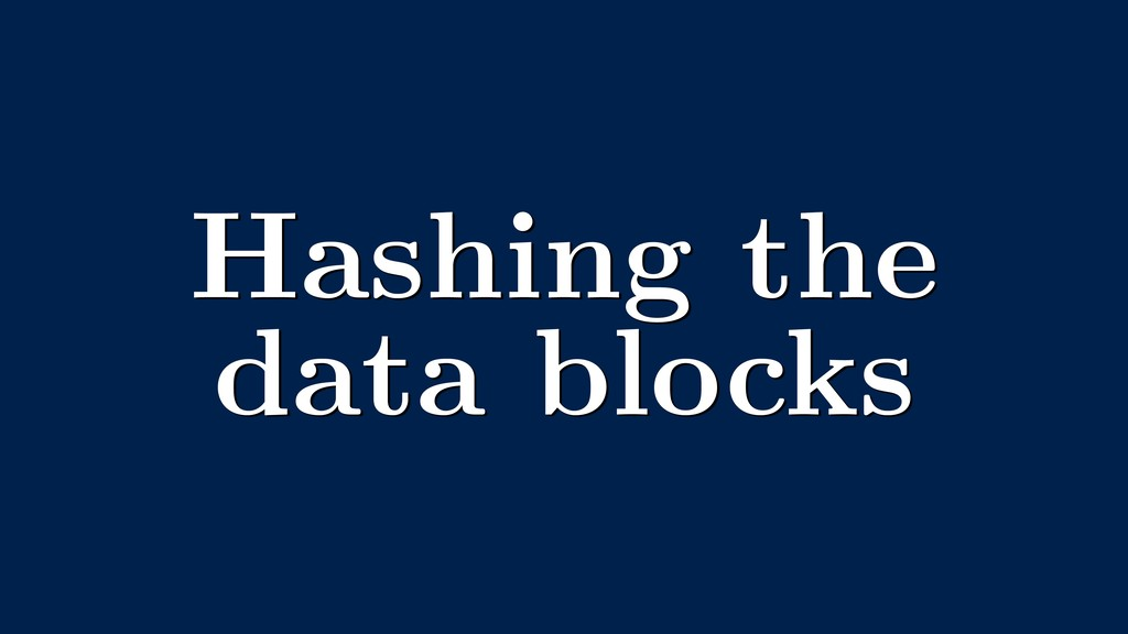 Hashing the data blocks