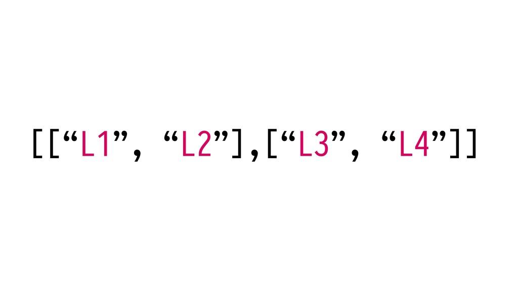 """[[""""L1"""", """"L2""""],[""""L3"""", """"L4""""]]"""