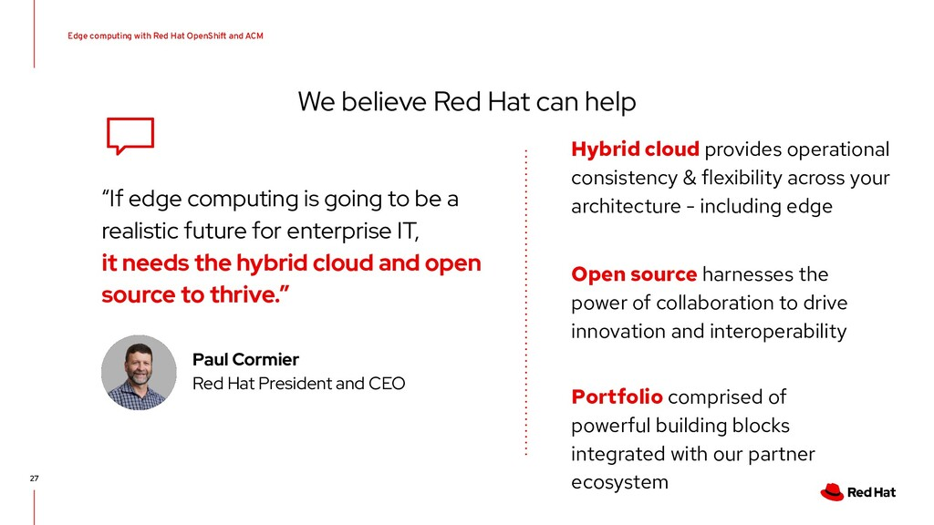 We believe Red Hat can help 27 Hybrid cloud pro...