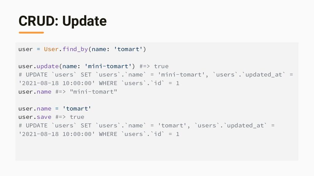 CRUD: Update user = User.find_by(name: 'tomart'...