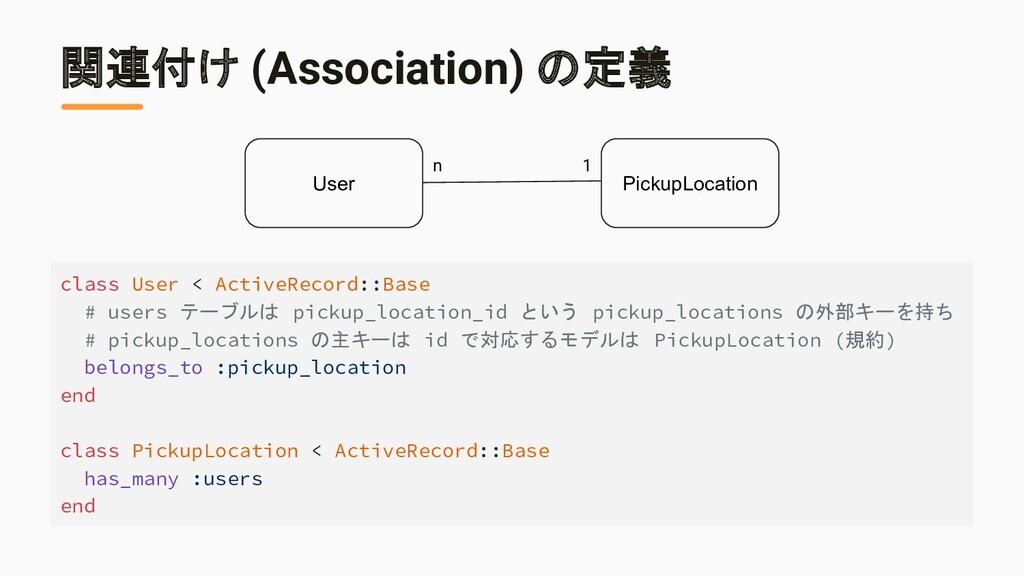 関連付け (Association) の定義 class User < ActiveRecor...