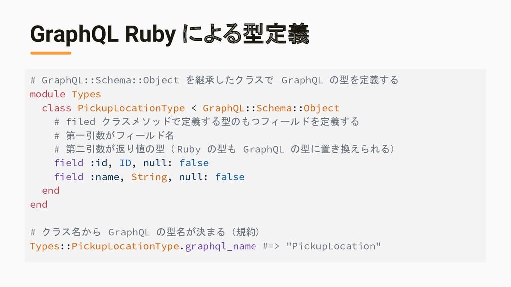 GraphQL Ruby による型定義 # GraphQL::Schema::Object を...
