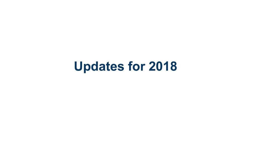 Updates for 2018