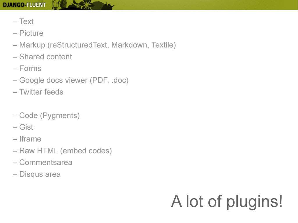 A lot of plugins! – Text – Picture – Markup (re...