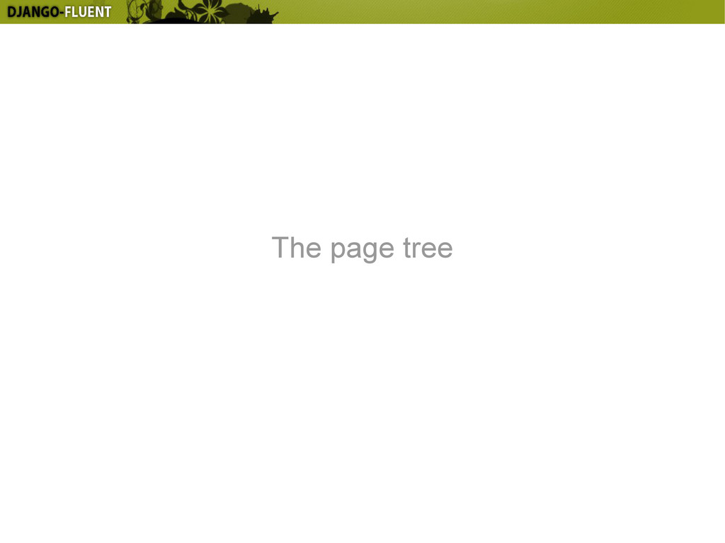 The page tree