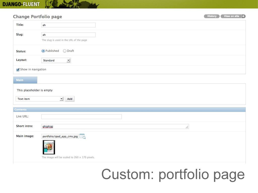 Custom: portfolio page