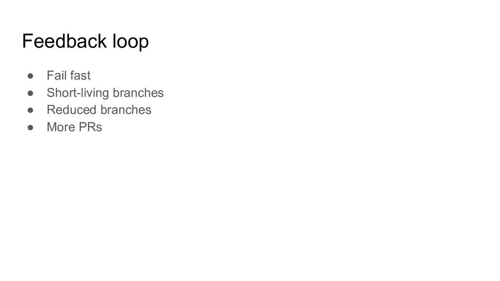 Feedback loop ● Fail fast ● Short-living branch...