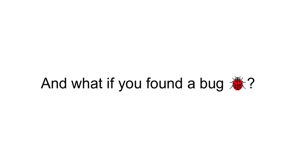 And what if you found a bug ?
