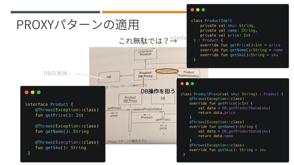 PROXYパターンの適用 Interfaceに切り出す.利用者はこれを使う. DBの実体. P...