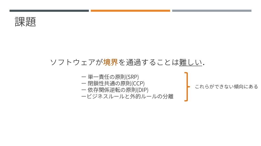 課題 ソフトウェアが境界を通過することは難しい. ー 単一責任の原則(SRP) ー 閉鎖性共通...