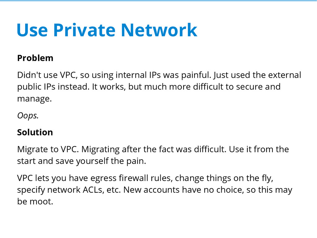 Use Private Network Problem Didn't use VPC, so ...