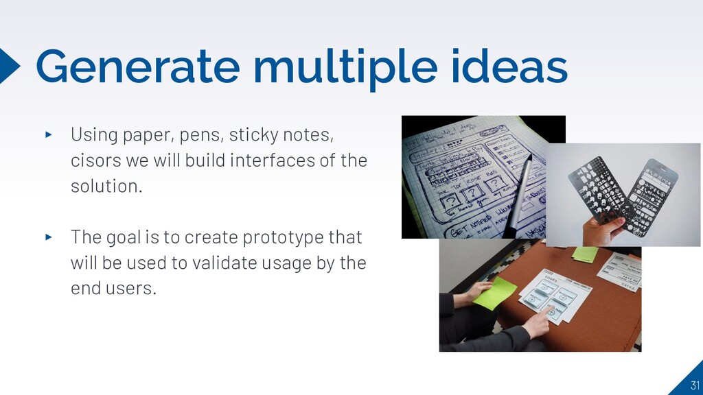 Generate multiple ideas ▸ Using paper, pens, st...