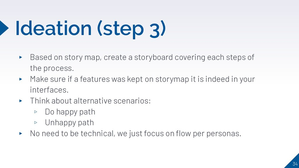Ideation (step 3) ▸ Based on story map, create ...