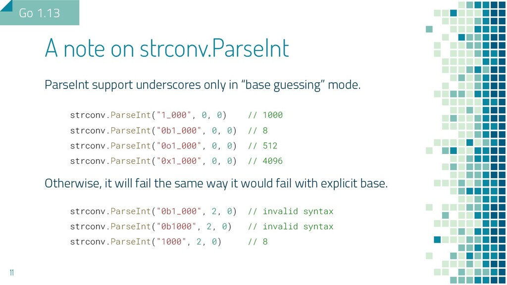 """ParseInt support underscores only in """"base gues..."""