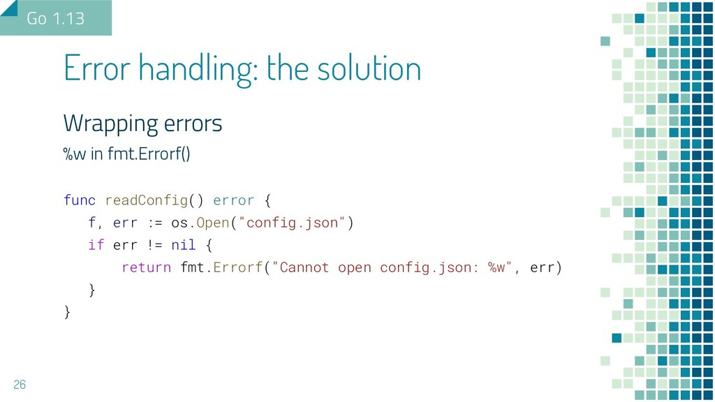 Wrapping errors %w in fmt.Errorf() func readCon...