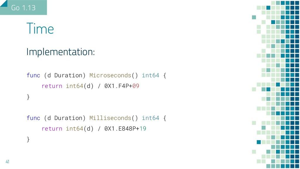 Implementation: func (d Duration) Microseconds(...