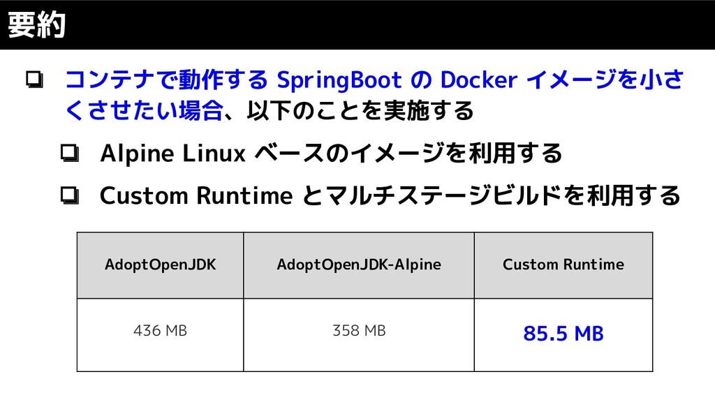 ❏ コンテナで動作する SpringBoot の Docker イメージを小さ くさせたい場合...