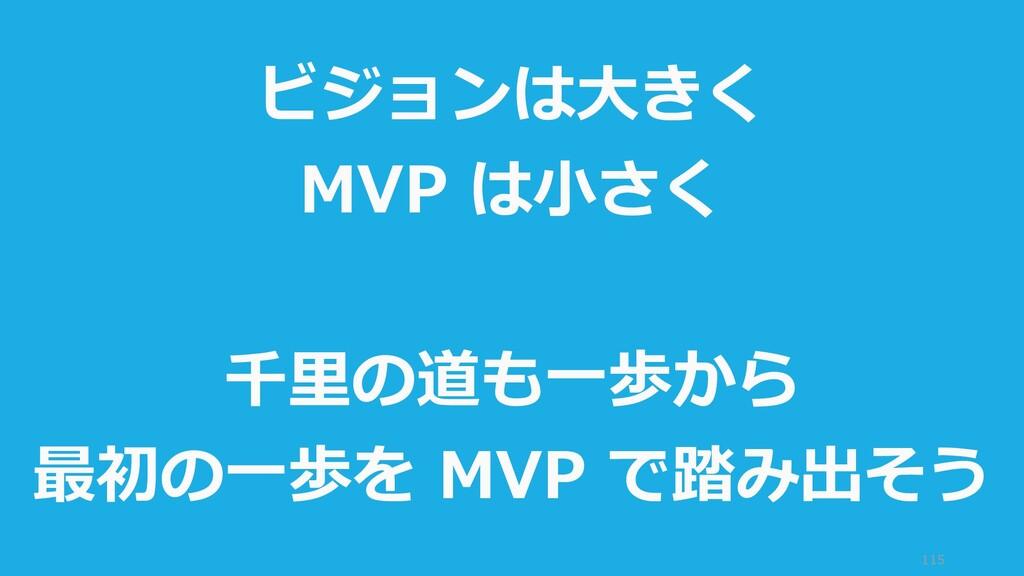 115 ビジョンは大きく MVP は小さく 千里の道も一歩から 最初の一歩を MVP で踏み出...