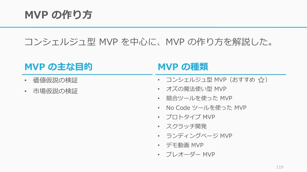MVP の作り方 コンシェルジュ型 MVP を中心に、MVP の作り方を解説した。 119 M...
