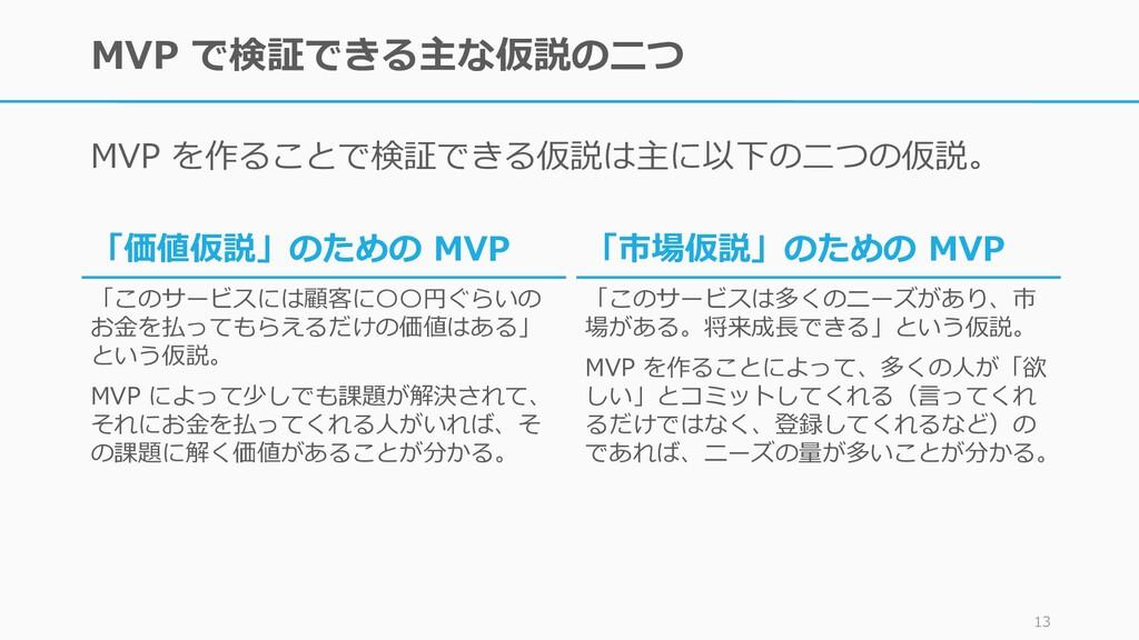 MVP で検証できる主な仮説の二つ MVP を作ることで検証できる仮説は主に以下の二つの仮説。...