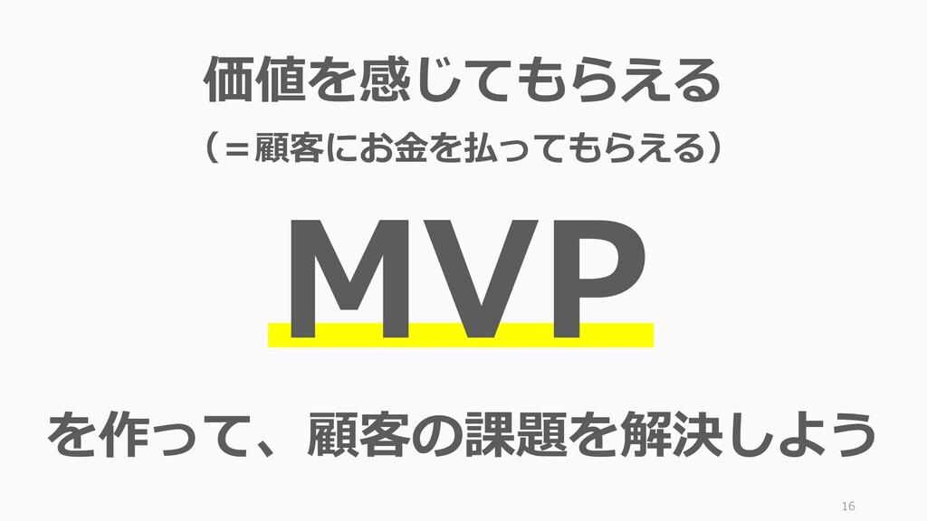 16 価値を感じてもらえる (=顧客にお金を払ってもらえる) MVP を作って、顧客の課題を解...